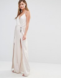 Dark Pink Silky Slip Maxi Dress With Button Detail Taupe Metallic Beige