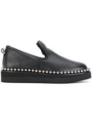 Alexander Wang Stud Trimmed Loafers Calf Leather Lamb Fur Rubber Black