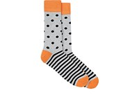 Corgi Men's Striped Polka Dot Mid Calf Socks Grey Black Orange Silver