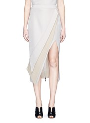 Maticevski 'Elite' Folded Slit Front Pencil Skirt Neutral