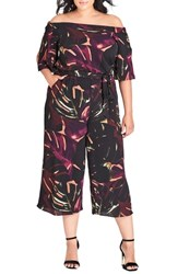 City Chic Plus Size Winter Feel Off The Shoulder Jumpsuit Winter Jungle