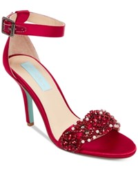 Blue By Betsey Johnson Betsy Gina Embellished Evening Sandals Women's Shoes Red Satin