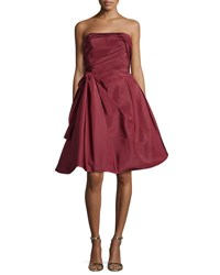 Oscar De La Renta Strapless Ruched Cocktail Dress Bordeaux