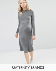 Mama Licious Mamalicious Striped Jersey Bodycon Dress With High Neck Grey