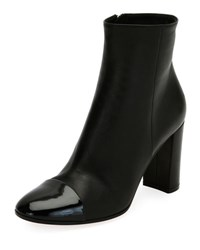 Gianvito Rossi Patent Cap Toe Leather Boot Black