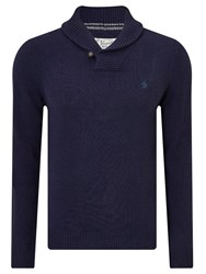 Original Penguin Shawl Neck Lambswool Blend Jumper Dark Sapphire