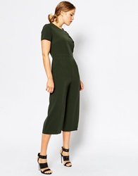 Asos Military Jumpsuit With Button Detail Khaki