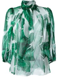 Dolce And Gabbana Banana Leaf Print Sheer Blouse Green