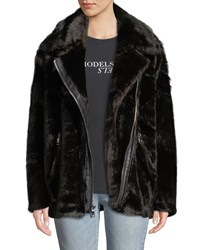Kendall Kylie Oversized Faux Mink Moto Jacket Brown