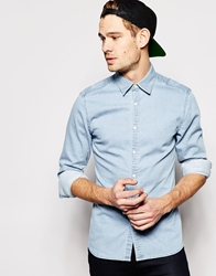 Asos Stretch Shirt In Long Sleeve With Bleach Wash Denim Bleachwash