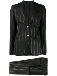 Tagliatore Striped Suit Black