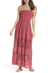 Chelsea 28 Chelsea28 Farrah Smocked Cover Up Maxi Dress Burgundy Dry