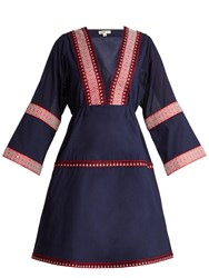 Daft Istanbul Embroidered Cotton Dress Navy
