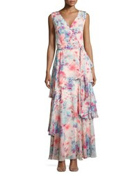 Tahari By Arthur S. Levine Floral Chiffon Sleeveless Gown Pink Pattern