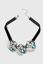 Topshop Encrusted Beaded Flower Collar Necklace Turquoise