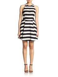 Alice Olivia Chase Striped Tweed Racerback Dress Black Silver