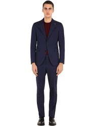 Tagliatore Stretch Cotton Gabardine Suit Blue