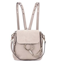 Chloe Faye Leather And Suede Backpack Beige