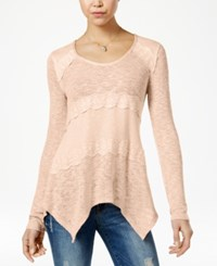 American Rag Mixed Knit Lace Trim Pullover Sweater Only At Macy's Raw Umber