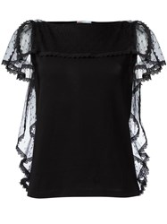 Red Valentino Lace Frill Top Black
