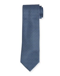 Brioni Circle Medallion Neat Silk Tie Blue