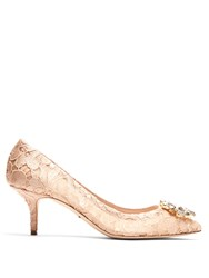 Dolce And Gabbana Belluci Crystal Embellished Lace Pumps Nude