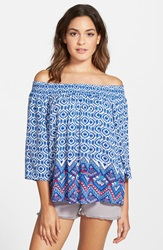 Derek Heart Print Peasant Top Juniors Aztec Blue