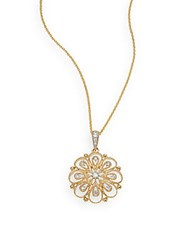 Saks Fifth Avenue Diamond And 14K Yellow Gold Flower Pendant Necklace