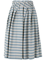 Jil Sander Navy Striped Skirt Women Cotton Polyester Acetate Cupro 36 Blue