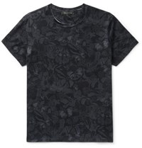 Valentino Lim Fit Butterfly Print Cotton Jerey T Hirt Black