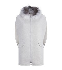 Lilly E Violetta Cashmere Fox Fur Trim Cape Grey