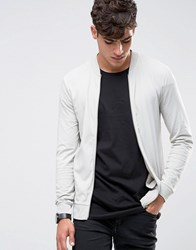 Asos Lightweight Muscle Jersey Bomber Jacket In Light Grey Paving