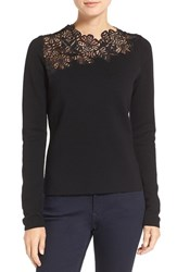 Tahari Women's Elie 'Samantha' Lace Yoke Merino Wool Sweater
