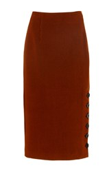 Tibi Crinkle Ribbed Pencil Skirt Brown