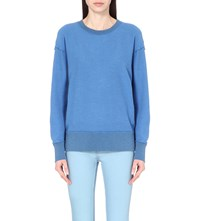 Sandro Tacita Cotton Terry Sweatshirt Bleu
