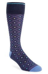 Nordstrom Shop Pointed Grid Socks Navy Yellow