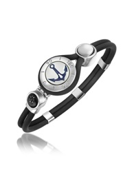 Forzieri Anchor And Compass Stainless Steel And Rubber Bracelet Silver