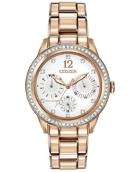 Citizen Women's Chronograph Eco Drive Silhouette Crystal Rose Gold Tone Stainless Steel Bracelet Watch 37Mm Fd2013 50A