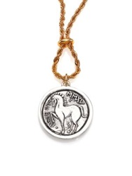 Giles And Brother Long Horse Coin Necklace Silver Gold
