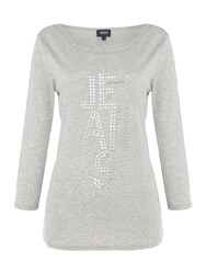 Armani Jeans Long Sleeve Sequined Logo Top Grey