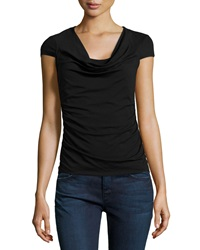 Paperwhite Drape Neck Short Sleeve Knit Tee Black