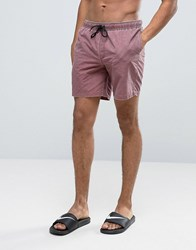 Asos Swim Shorts In Burgundy Acid Wash Mid Length Red
