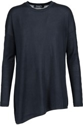 Magaschoni Asymmetric Silk And Cashmere Blend Sweater Midnight Blue
