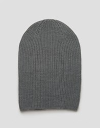 Asos Slouchy Beanie In Gray Marl Gray