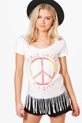 Boohoo Beaded Peace Slogan Fringed T Shirt White