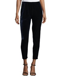 Joan Vass Velour Ankle Leggings Midnight