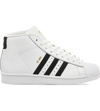 Adidas Pro Model Leather High Top Trainers White Black