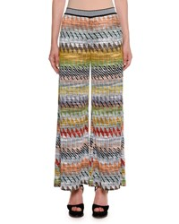 Missoni Rhombus Multi Stripe Wide Leg Crop Pants Multi Pattern