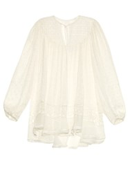 Zimmermann Belle Swiss Dot And Lace Silk Top White