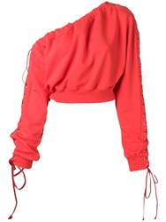 Unravel Project One Shoulder Lace Up Sweatshirt Red